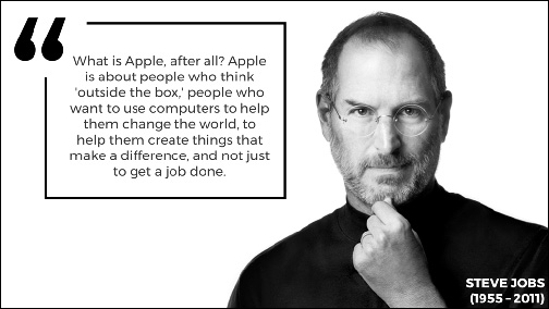 An attractively formatted PowerPoint Slide with a single image of Steve Jobs and a single quotation about Apple.
