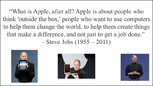 An unattractively formatted PowerPoint Slide with three small images of Steve Jobs and a single quotation about Apple.